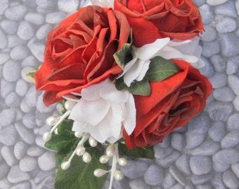 Romantic Red Roses with white stephanotis hair flower Cluster - hair clip-
