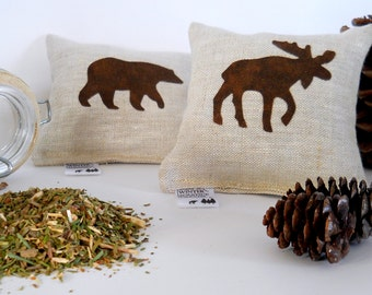 Balsam Fir Sachets with Brown Bear and Moose Appliques - Set of Two Maine Balsam Pillows Bear and Moose