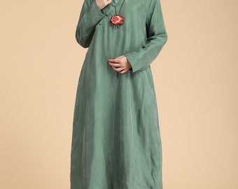 Folk Style Dress Loose Fitting Sundress Long Sleeve Dress in Green(more colour and size choice)