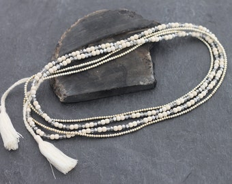 White Turquoise Faceted Silver Tassel Long Necklace