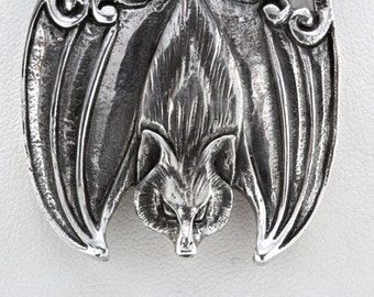 Big Flying Fox Bat Necklace Sterling Silver