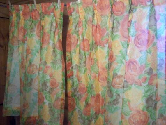 Vintage Mod Floral Sheer Curtains/Drapes, 2 Panels, 1 Pr, Melon Orange ...