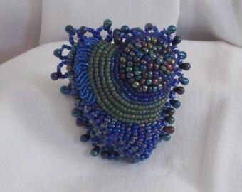 Handmade Hand Beaded Heart Shaped Pin - Have a Heart Brooch - Shaggy Blue Heart