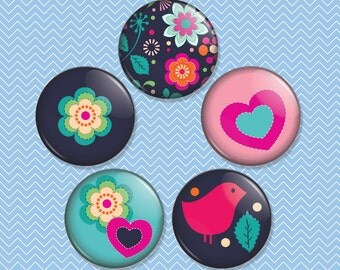 Birds and Flowers 1 inch Magnet Set of 5 (M0011)