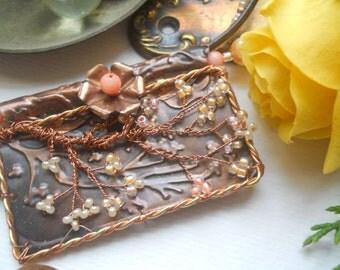 Copper Cherry Blossom and Pearl Multi Strand Necklace
