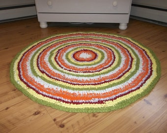 Yellow and Green Crocheted Rag Rug, Home and Living, Floor and Rugs, Rugs, Handmade Crochet Rug