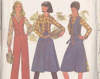 Misses Shirt ~ Vest ~ Pants ~ Back Wrap Skirt Pattern ~ Simplicity 7675 Size 10 ~ Reversible Skirt  ~ Cut But Complete