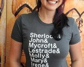Sherlock characters Ampersand shirt. Women's fitted American Apparel fitted in sizes medium and large.