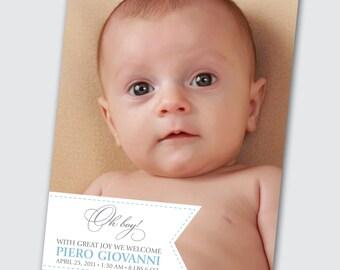 Photo Birth Announcement for Baby Boy - DEPOSIT