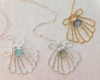 Sterling Silver or Gold Filled Mermaid Shell Necklace with Moss Aquamarine or Peruvian Opal