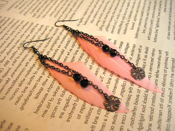 Pink feather earrings / Pink black dangle earrings / Long pink black earrings / Gunmetal earrings/ Breast Cancer Awareness / PINK
