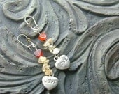 Black Friday/Cyber Monday Carnelian heart and citrine gemstone earrings -One Love (Silver)-Yellow, Orange on Silver