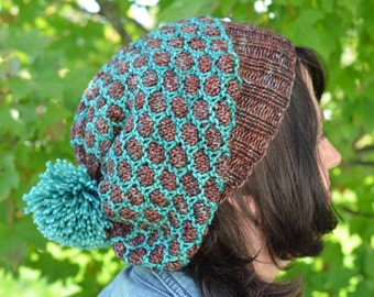 Slouchy Honey Hat Knitting Pattern: A Slouchy Hat with a Honeycomb Pattern