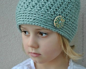 Girls Crochet Hat Pattern in Toddler, Kids, Teen and Ladies Sizes available for instant download No.127