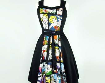 On Sale !! Comic Black Full Circle Swing  Vintage Inspired Dress