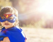 BLUE and RED Superhero MASK  with lightening bolt - Superhero accessory and gear -