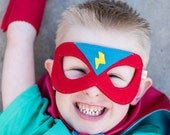 Boy RED and TURQUOISE Superhero MASK  Birthday gift -  Match your Pip and Bean Custom Super Hero Cape Birthday gift ready to ship