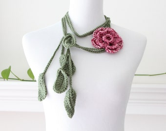 Crocheted Rosemist Green Lariat Necklace, Scarf, Scarflette