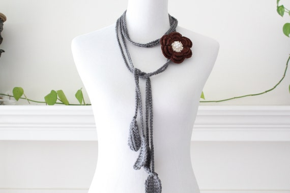 Crochet Brown Cream Removable Brooch Flower Lariat, Necklace, Scarf, Scarflette