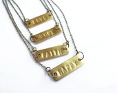 Personalized Nameplate Necklace, Brass Bar Necklace, Inspirational Necklace, Unisex Necklace,