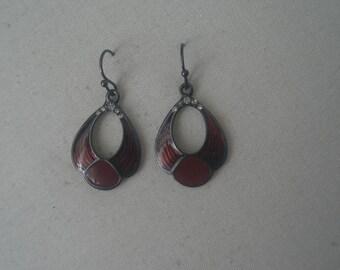 Vintage Scarlet Enamel Dangle Earrings with Rhinestones