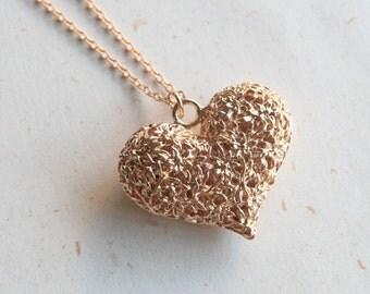 Filigree Heart Necklace (N370) in rose gold color