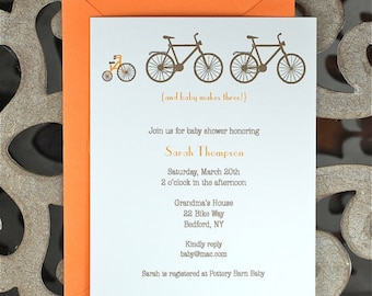 Baby Shower, Bicycle Baby Shower Invitation, Baby Shower Invitations, Bicycles, Tricycle, New Baby Announcement