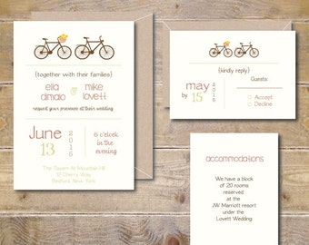 Bicycle Wedding Invitations, Bicycles, Bikes, Bicycle Wedding Invites, Bike Themed Wedding Invites, Tandem Bicycle, Rustic Wedding