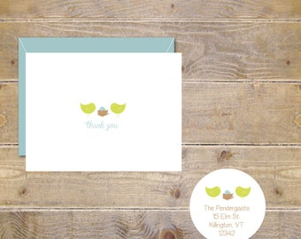 Baby Shower Thank You Cards, Bird Nest, Birds Nest Baby Announcements, Baby Boy, Baby Girl, Gender Neutral- Our Little Chick Is Hatching