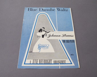 1958 Blue Danube Waltz Piano Sheet Music