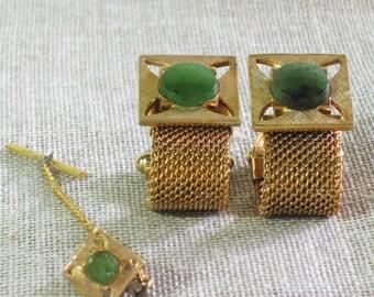 Cufflink Set , Tie Pin , Jadeite , Sears Roebuck , Set , Gold Tone , Boxed Set , Green Stones , Gold , Masculine Jewelry , Mens Jewelry