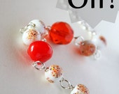 SALE -  orange  and white - bracelet - summer vintage inspiration happy