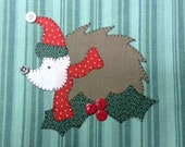 Holiday Hedgie the Hedgehog Applique PDF Pattern for Tea Towel