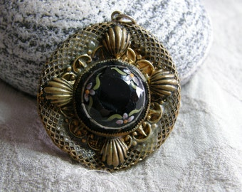 Vintage brass and painted black glass medallion pendant to wear or re-purpose