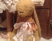 Handmade Vintage style viscose artist bear bunny vintage lace and overalls by Olive Grove Primitives Hafair