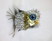 Who Me? Metal Feathered Baby Owl Created From Re Purposed Tin