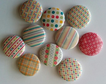"""set of 10 1"""" or 1.25 inch pinback buttons, flatback buttons or hollowback buttons"""