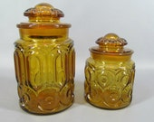 Vintage L.E. Smith Amber Moon and Stars Glass Canister Jar Pair