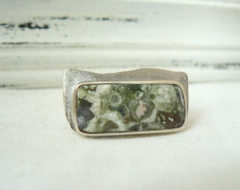 Rainforest Rhyolite Ring - Sterling silver and rhyolite jewelry - size 7 READY TO SHIP
