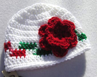 Christmas Baby Cap, White with Red and Green Trim and Big Red Flower  MADE TO ORDER, Gift for Baby, Shower Gift, Infant Girl Present