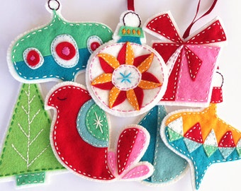 Felt Christmas Ornaments PDF Pattern Embroidered eBook Instant Download
