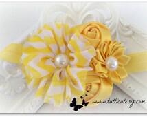 Yellow Chiffon Chevron and silk Flower Headband