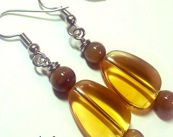 Clearance - Clear Brown Drop Earrings
