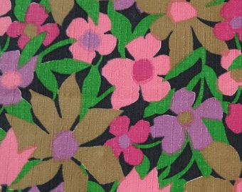 "50% OFF FABRIC SALE! 60s 70s Vintage Fabric - Pink Purple & Brown Floral Midweight Cotton - 3/4 yd x 44"" wide"