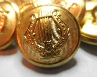 12 Gold Metal Buttons- Steampunk Uniform-Fashionable --7/8 inch -Military Band - Lyre with Lined Background