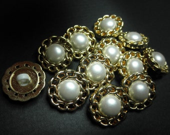 12 White and Gold Plastic Buttons -2 part Snap Together -Chain Look  Border  1 - 1/8 inch