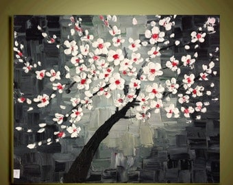 "white cherry blossom Tree Original Abstract Oil Painting Impasto Palette Knife fine thick textured art Ready to Hang by Qujun 16""x20"""