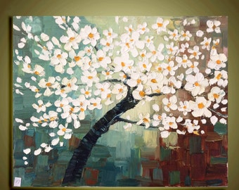 "cherry blossom Tree Original Abstract Oil Painting White flower Impasto Palette Knife fine thick textured art Ready to Hang by Qujun 16""x20"""