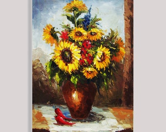 "sunflower Oil Painting Original Modern Thick Palette Knife Floral on Canvas Ready to Hang by Qujun 24""x36"""