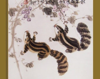 squirrel paintings Original  chinese  painting oriental art  chinese art watercolour-squirrels with fruit No.3